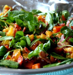 Butternut and orange salad with crispy bacon