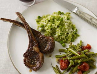 Lamb chops with mint risotto